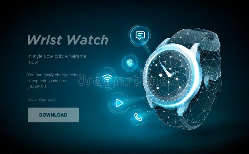 在黑backgraund的手表低多wireframe艺术 聪明的时钟作用的介绍以满天星斗的天空的形式 库存例证