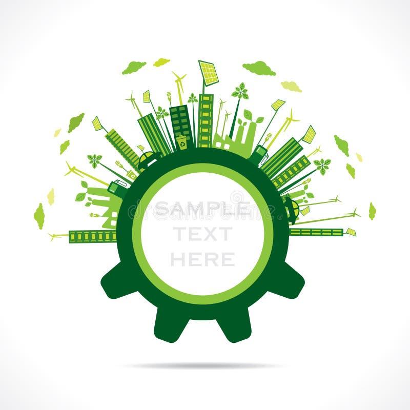 在齿轮概念的创造性的绿色城市设计 向量例证