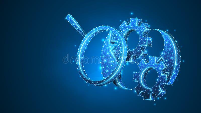 在齿轮的放大镜有可调扳手的 技术解答,工程研究概念 r 向量例证
