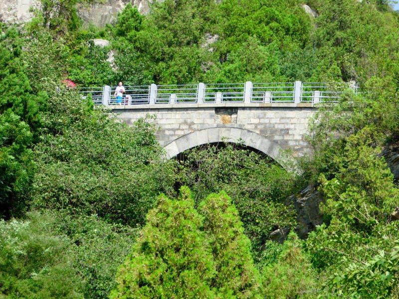 在龙门石窟风景区里面的桥梁 库存图片