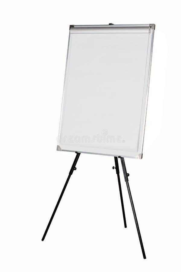 在黑三脚架的Whiteboard 库存照片