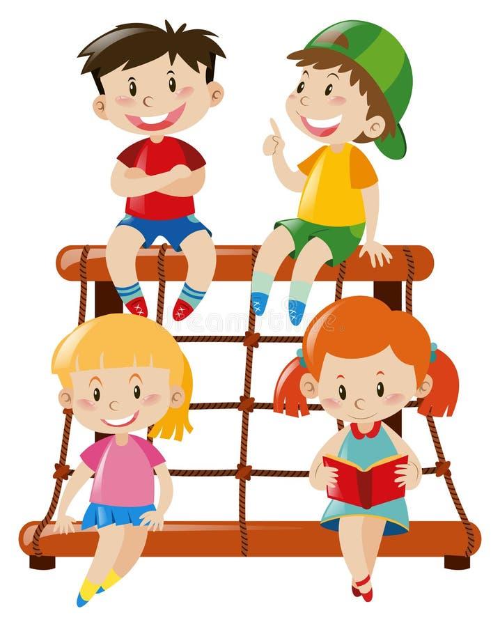 在绳索上升的驻地的四个孩子 向量例证
