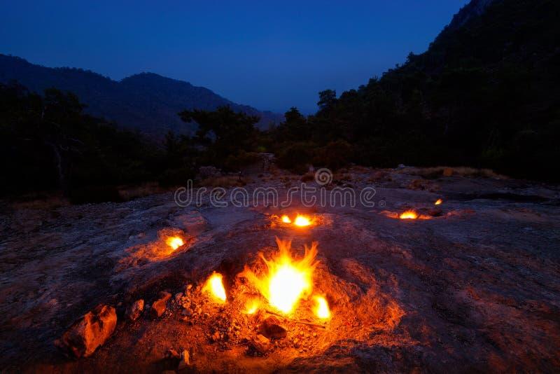 在登上虚构物倾斜的自然火  免版税库存图片