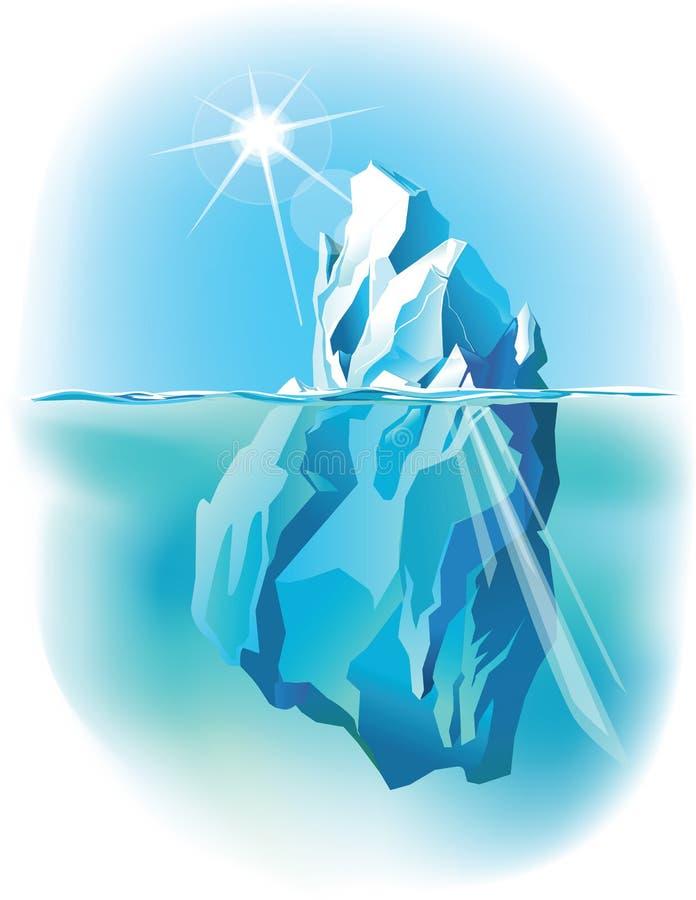 在水下的冰山和水面上 库存例证