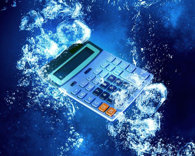 在水下的计算器 免版税库存图片