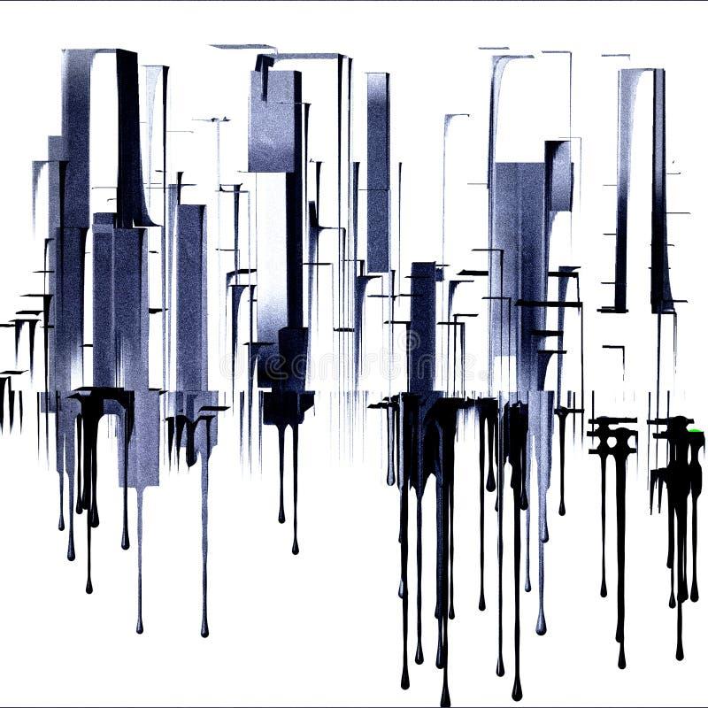 在20世纪50年代艺术完成的都市风景被启发 向量例证