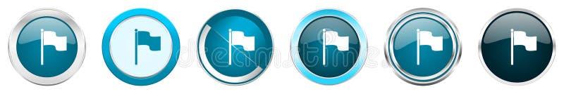 在6个选择的旗子银色金属镀铬物边界象,被设置在白色背景隔绝的网蓝色圆的按钮 向量例证