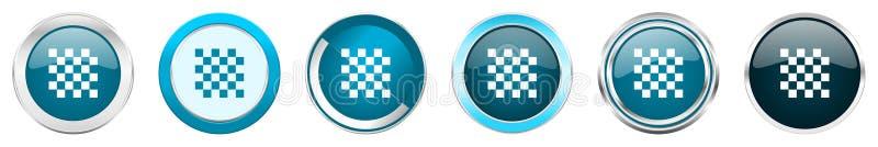 在6个选择的棋银色金属镀铬物边界象,被设置在白色背景隔绝的网蓝色圆的按钮 皇族释放例证