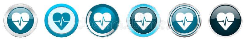 在6个选择的脉冲银色金属镀铬物边界象,被设置在白色背景隔绝的网蓝色圆的按钮 向量例证