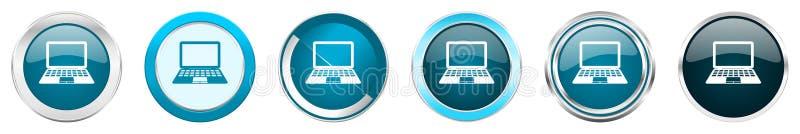 在6个选择,套的计算机银色金属镀铬物边界象在白色背景隔绝的网蓝色圆的按钮 库存例证