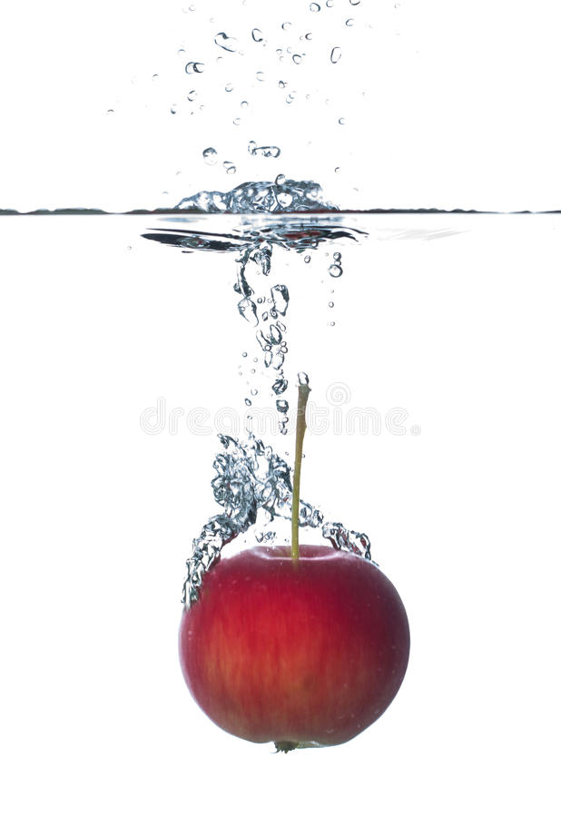 在水之下的苹果红色 免版税图库摄影