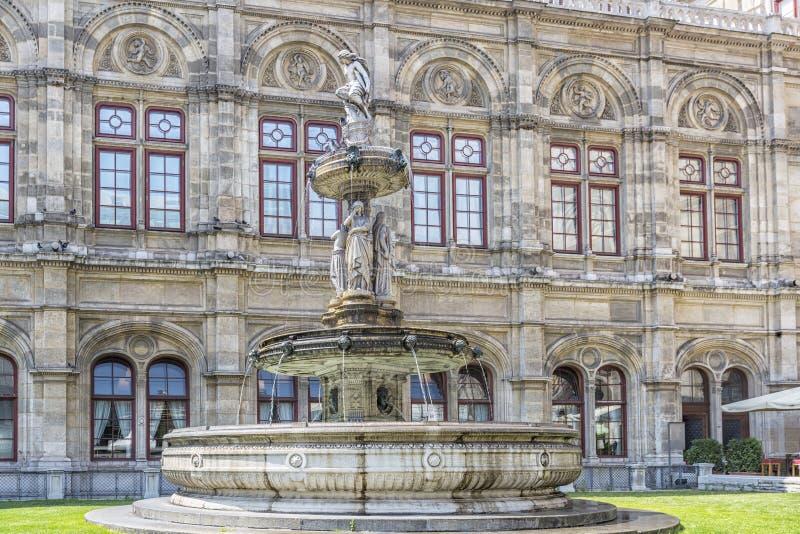 在维也纳歌剧院前面的喷泉,奥地利 库存照片
