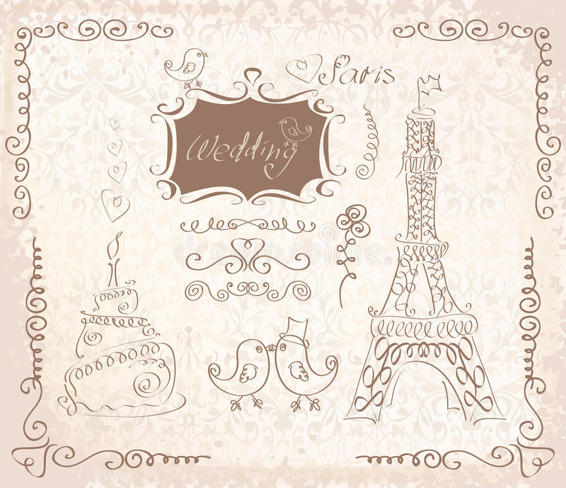 在巴黎乱画的爱 皇族释放例证
