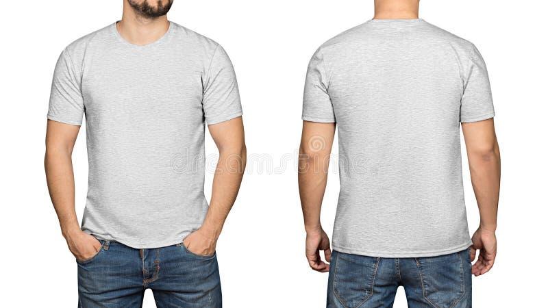在年轻人白色背景、前面和后面的灰色T恤杉 库存图片