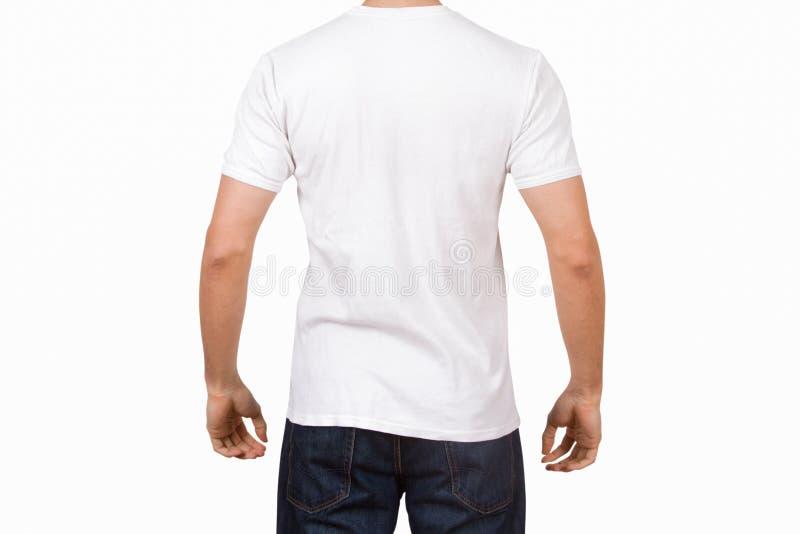 在年轻人的白色T恤杉 免版税库存照片