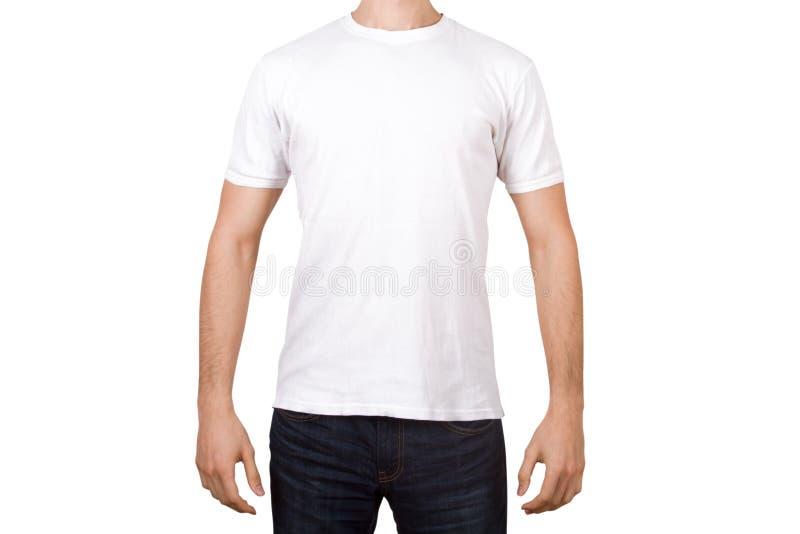 在年轻人的白色T恤杉 库存图片