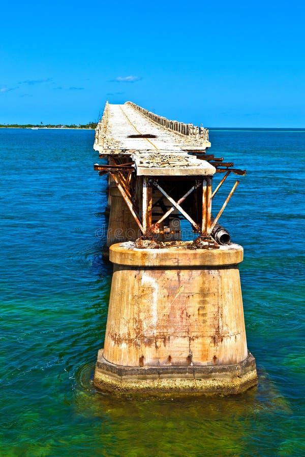 在巴伊亚本田钥匙的老铁路桥梁在佛罗里达钥匙 库存图片