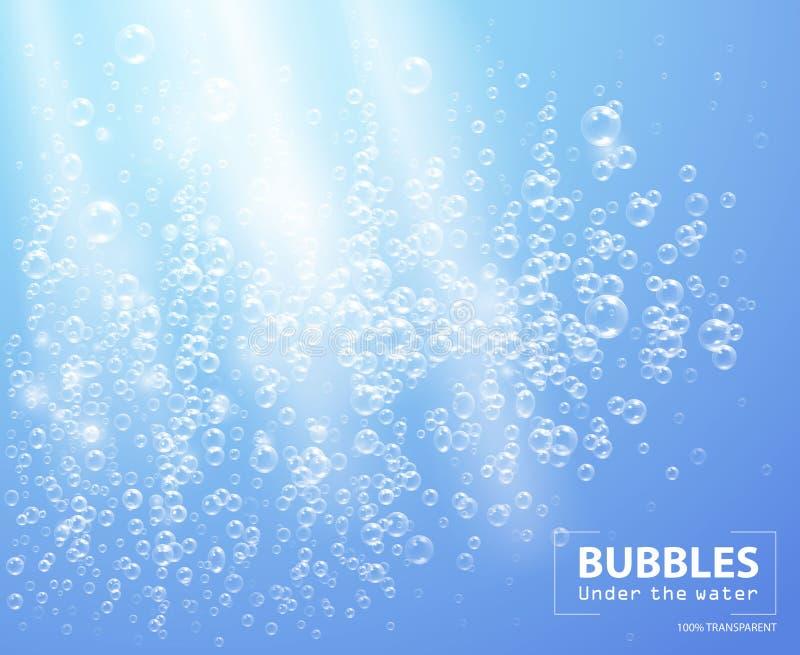 在水传染媒介例证下的泡影在蓝色背景 库存例证