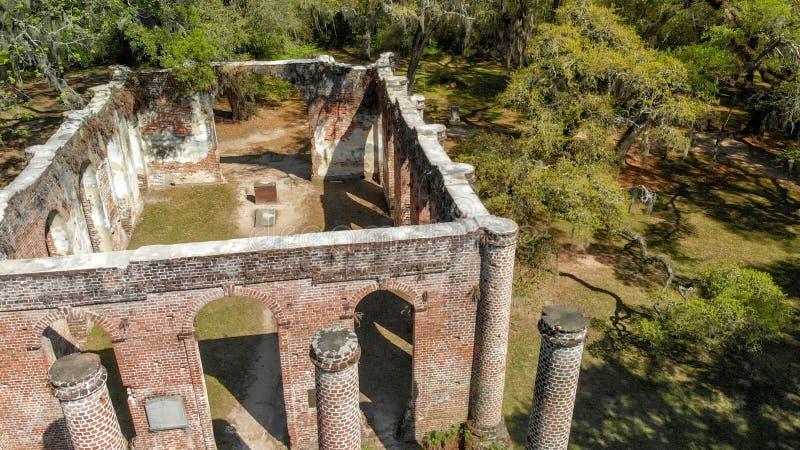 在1745修造的谢尔登教会废墟在Beaufort南加州附近 图库摄影
