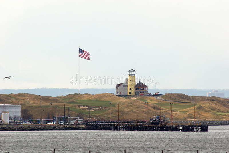 在整修,史泰登岛下的历史的灯塔 库存照片