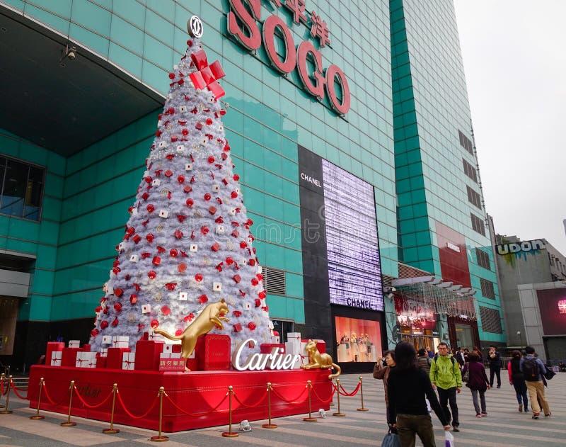 在崇光百货商城的圣诞节装饰在台北,台湾 免版税库存图片