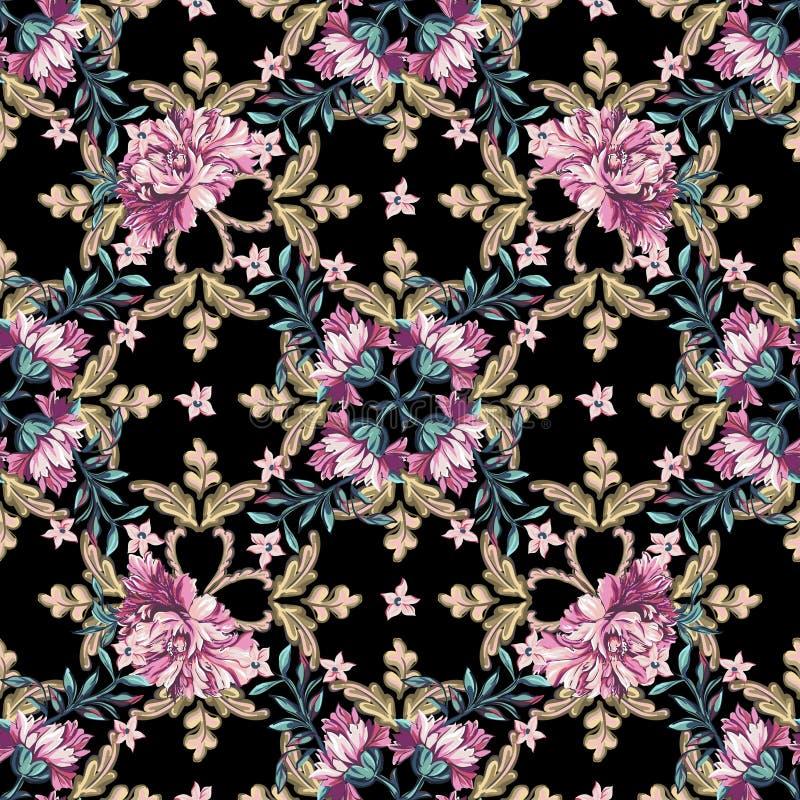 在巴洛克式的样式的花卉无缝的样式 向量例证