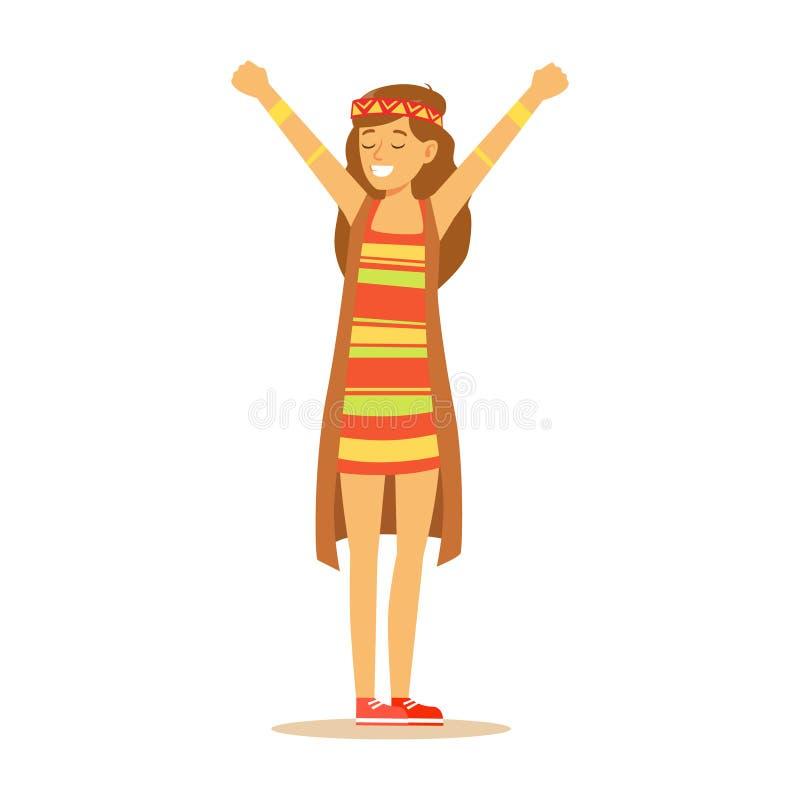 在经典伍德斯托克60嬉皮的亚文化群衣裳、五颜六色的礼服和长的背心打扮的女孩嬉皮 库存例证