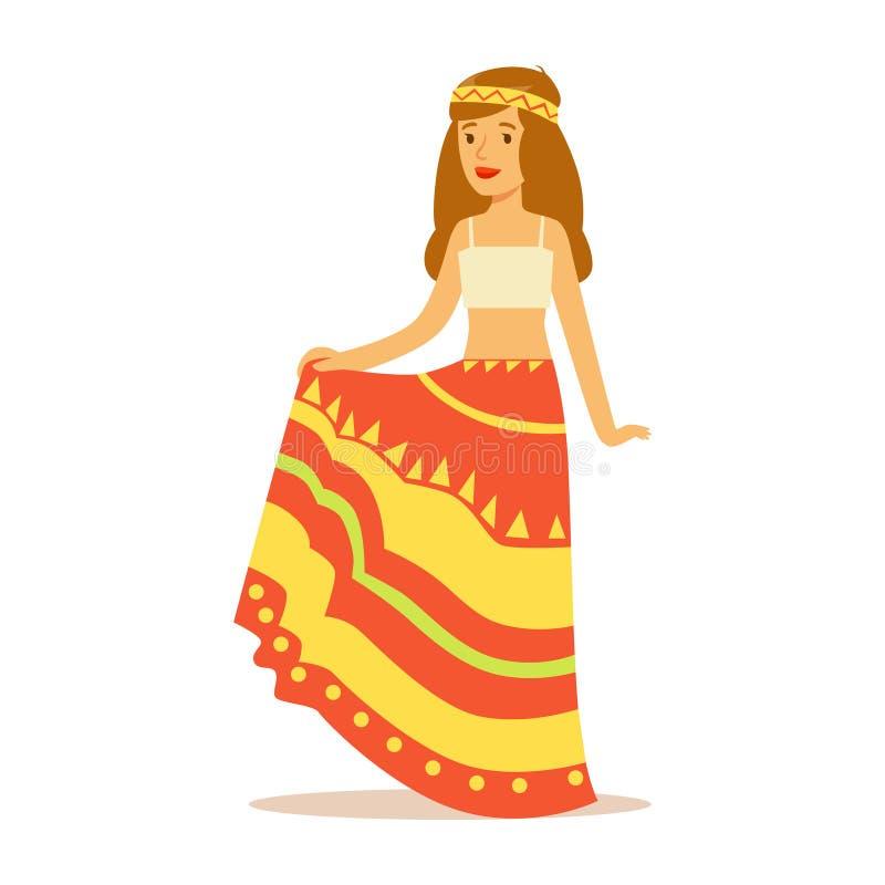 在经典伍德斯托克60嬉皮的亚文化群衣裳、五颜六色的长的裙子和上面打扮的女孩嬉皮 皇族释放例证