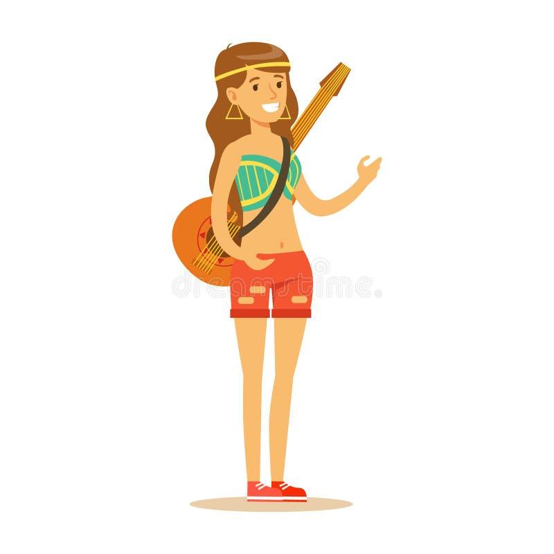 在经典有吉他的伍德斯托克60嬉皮的亚文化群衣裳打扮的女孩嬉皮在肩膀传送带 皇族释放例证