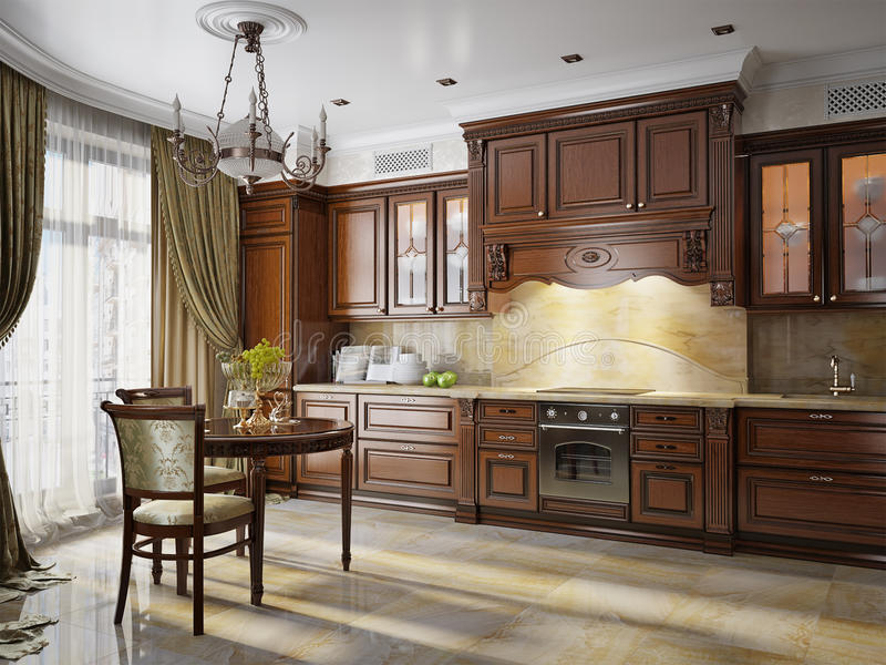在经典样式的厨房内部 库存图片