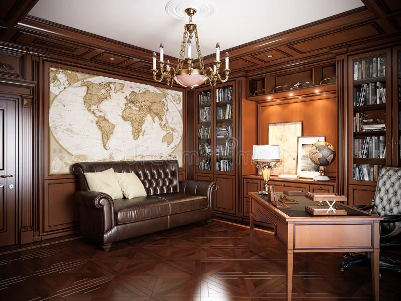 在经典样式的家庭办公室室内设计 库存照片