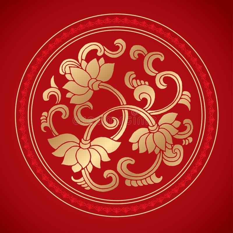 在经典红色背景的中国葡萄酒莲花元素 库存照片
