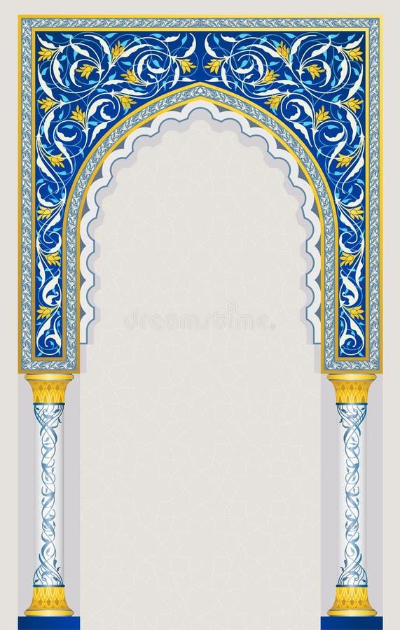 在经典蓝色颜色的伊斯兰教的曲拱设计 库存例证