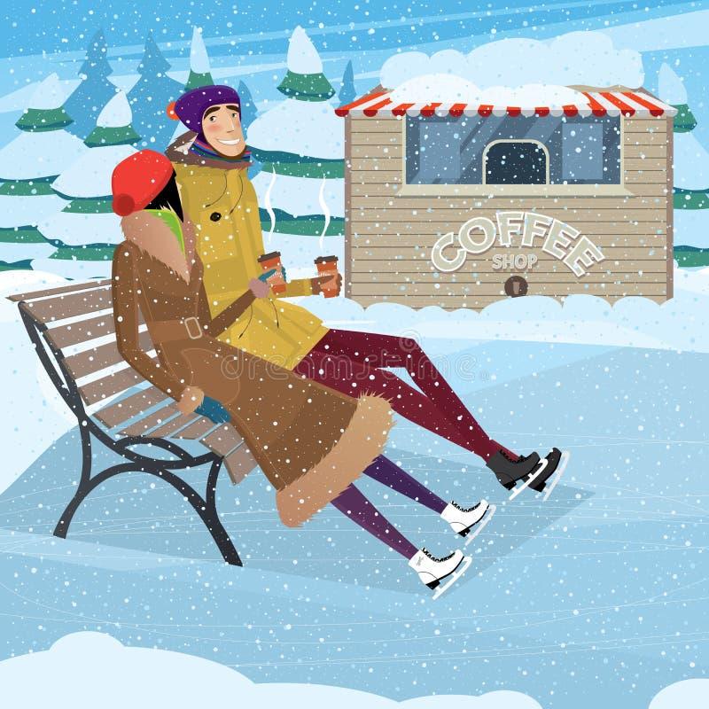 在滑冰的溜冰场的咖啡休息 库存例证