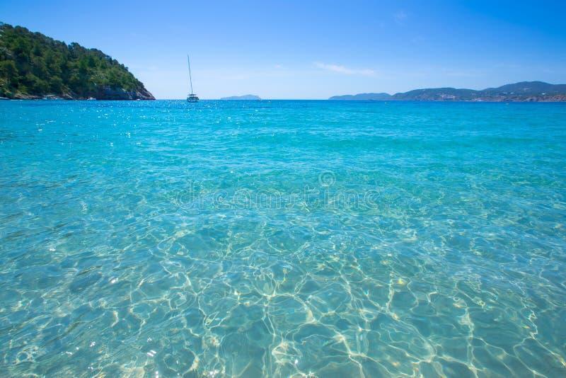 在巴利阿里群岛的伊维萨岛cala圣维森特海滩圣胡安 库存图片