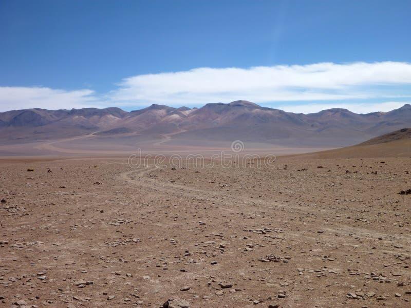 在玻利维亚altiplano沙漠的Desierto科罗拉多 图库摄影