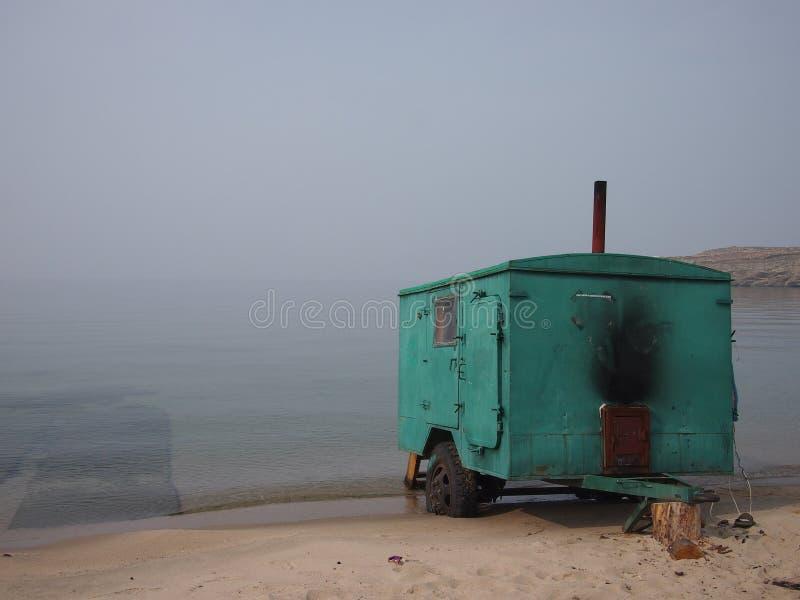 在贝加尔湖的俄国蒸汽浴Banya 免版税库存图片