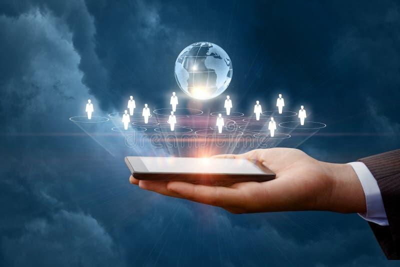 在移动设备的企业网络 免版税库存照片