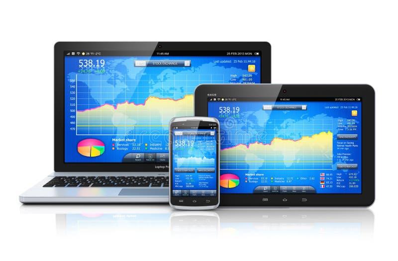 在移动设备的财务管理 库存例证