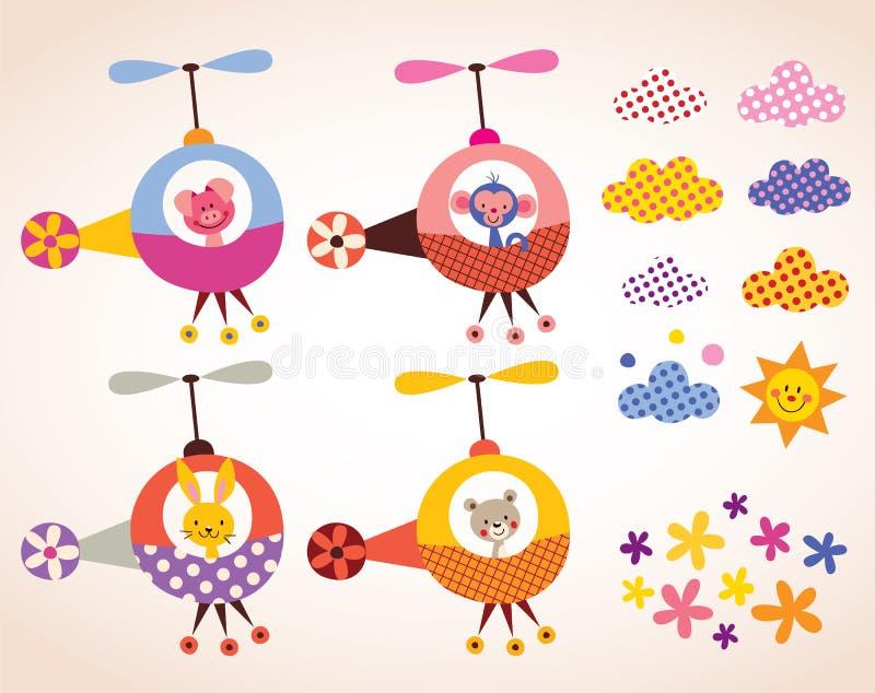 在直升机孩子的逗人喜爱的动物设计元素集 向量例证