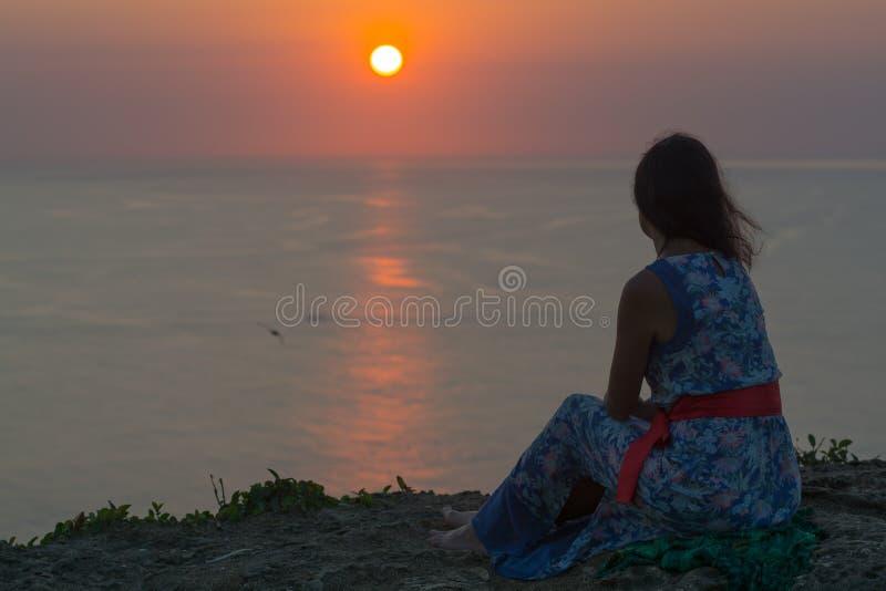 在巴厘岛,印度尼西亚的日落 免版税库存图片
