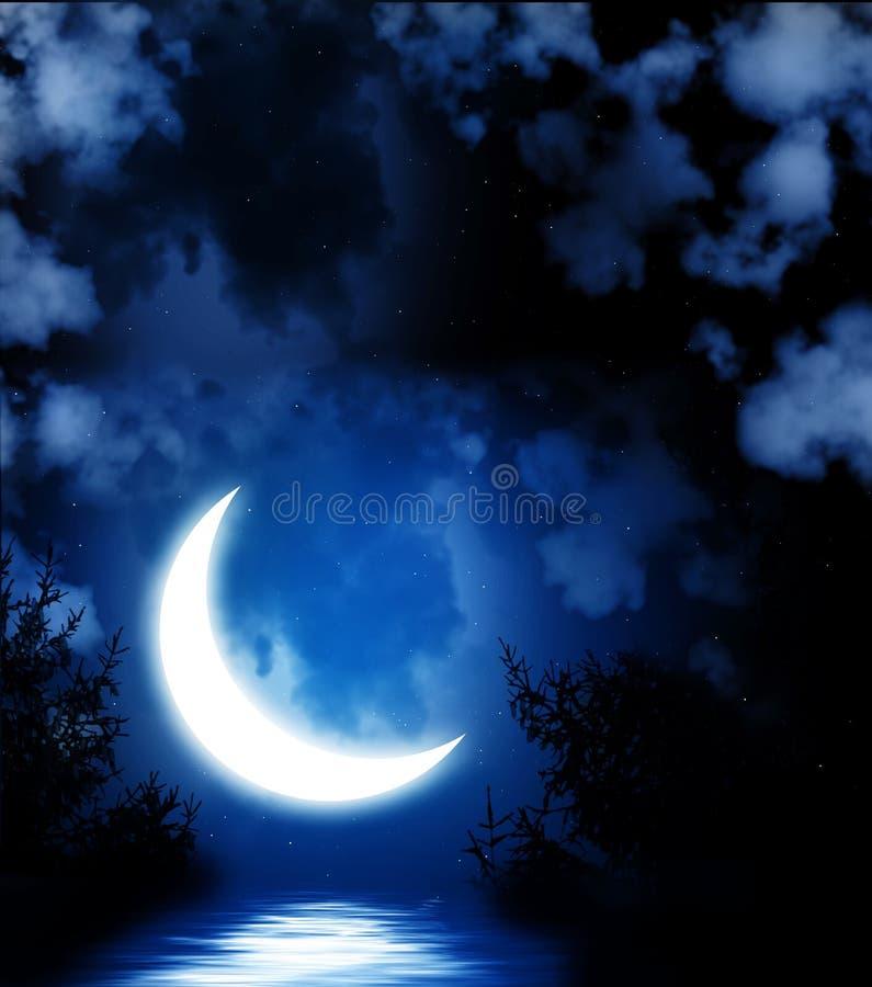 在水反映的明亮的月亮 向量例证