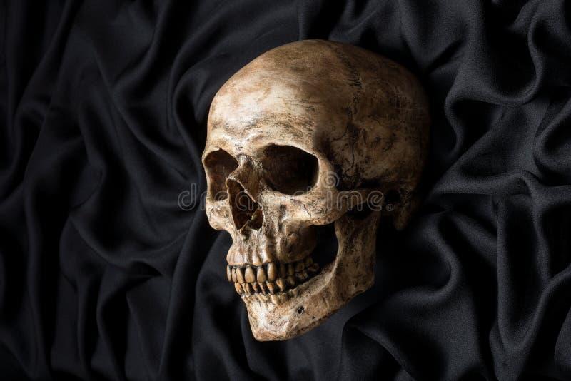 在黑织品的头骨 免版税库存照片