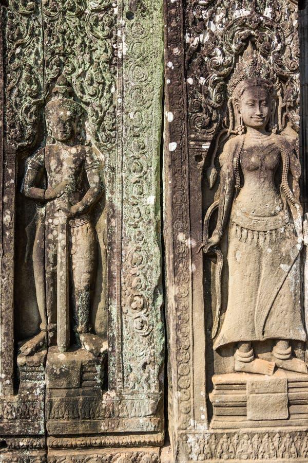 在吴哥瓦特的墙壁上的浅浮雕 免版税库存图片