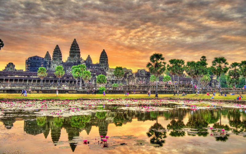 在吴哥窟的日出,联合国科教文组织世界遗产在柬埔寨 库存图片