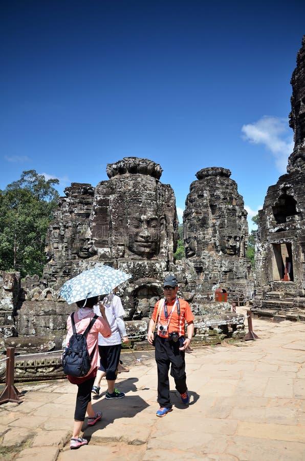 在吴哥窟,柬埔寨的古老Bayon寺庙 免版税库存照片