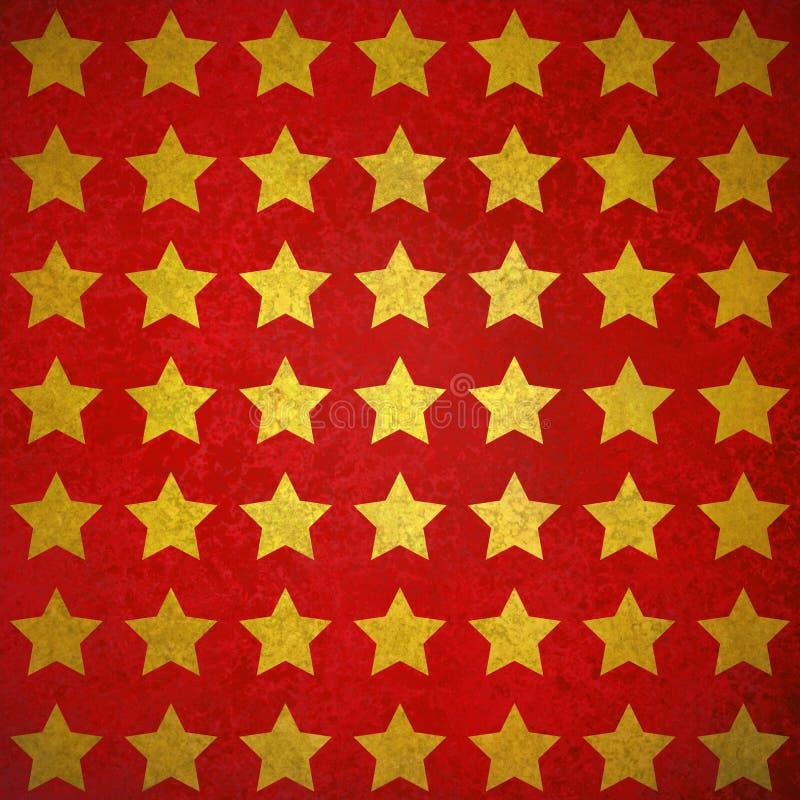在织地不很细红色背景的花梢发光的金星设计 库存例证
