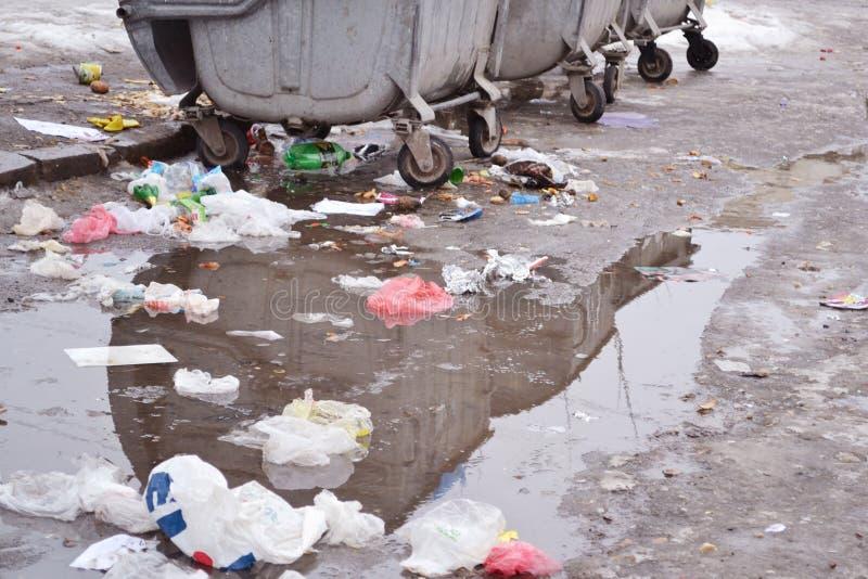 在水坑的废物 免版税库存图片