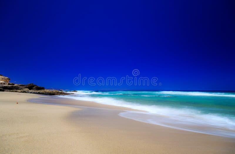 在费埃特文图拉岛的海滩 免版税图库摄影