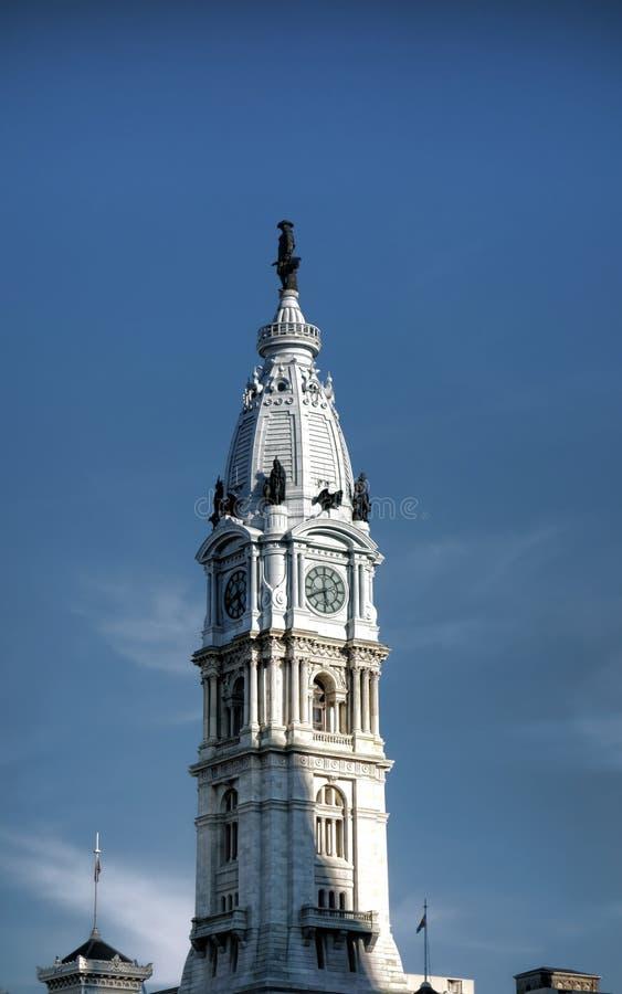 在费城香港大会堂上面的威廉・佩恩雕象 免版税图库摄影